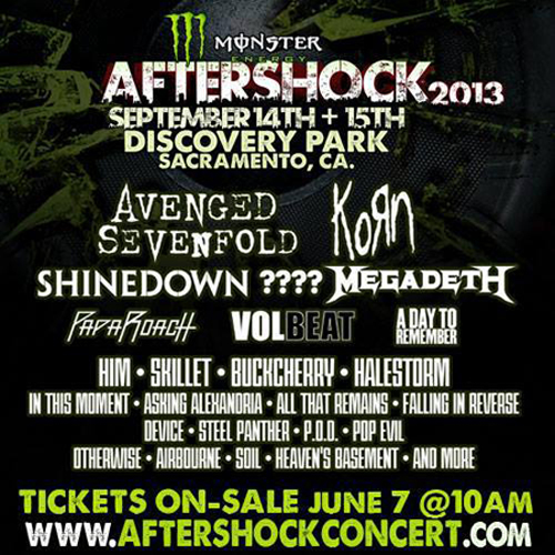 Monster Aftershock Festival 2013 Lineup
