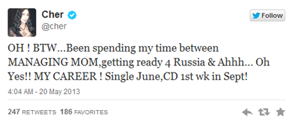 Cher Announces New Music Via Twitter