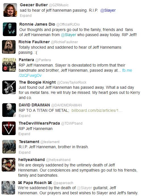 Jeff Hanneman RIP Twitter